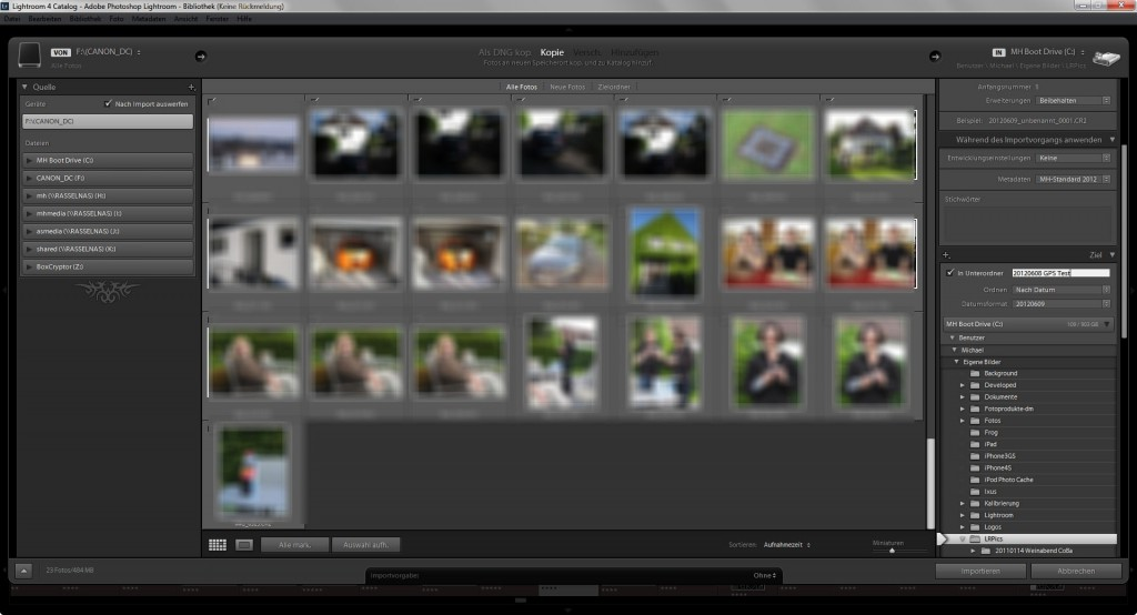 Lightroom - Import der Bilder