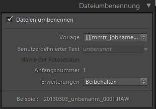Importeinstellungen II - Dateiumbenennung