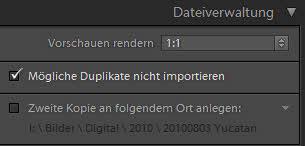 Importeinstellungen I - Dateiverwaltung